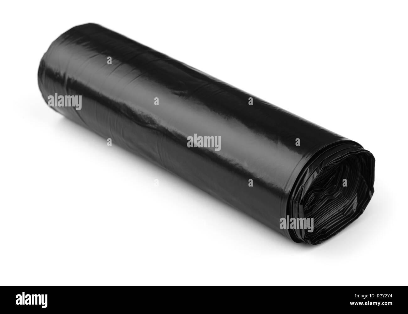 Roll of black plastic polyethylene sheeting isolated on white - Stock Image