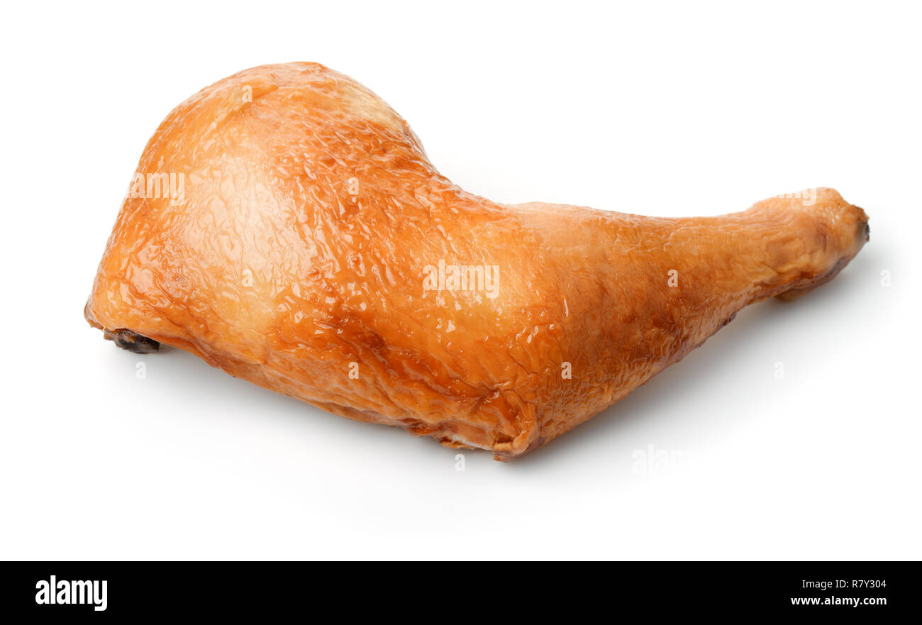 Smoked chicken leg quarter isolated on white - Stock Image