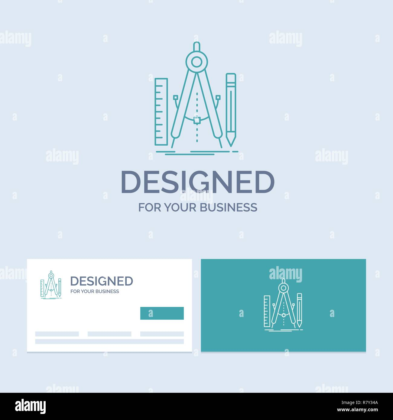 Build, design, geometry, math, tool Business Logo Line Icon Symbol for your business. Turquoise Business Cards with Brand logo template - Stock Vector