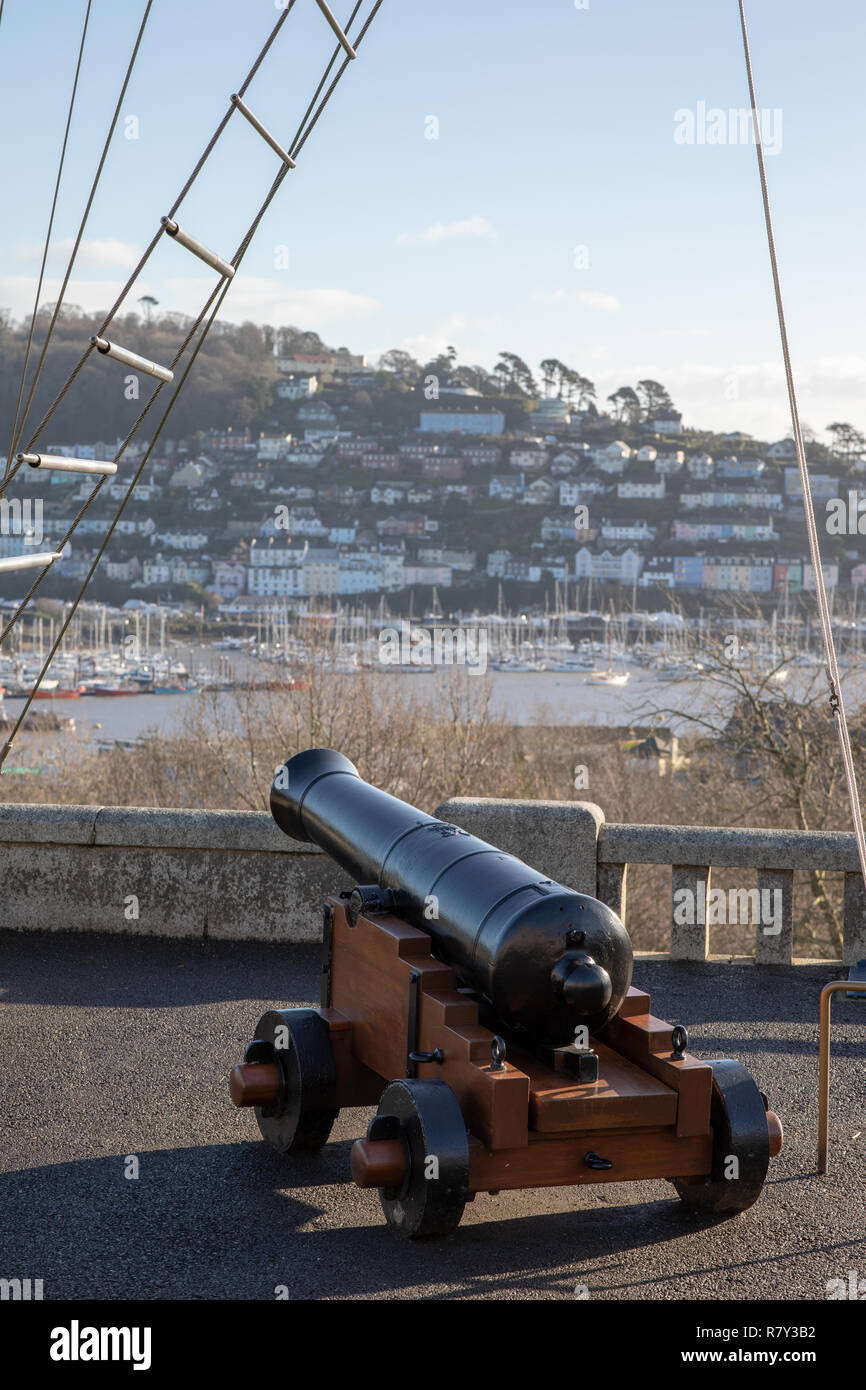 Canon on quarter deck of Britannia Royal Naval College looking out over Dartmouth and River Dart Stock Photo