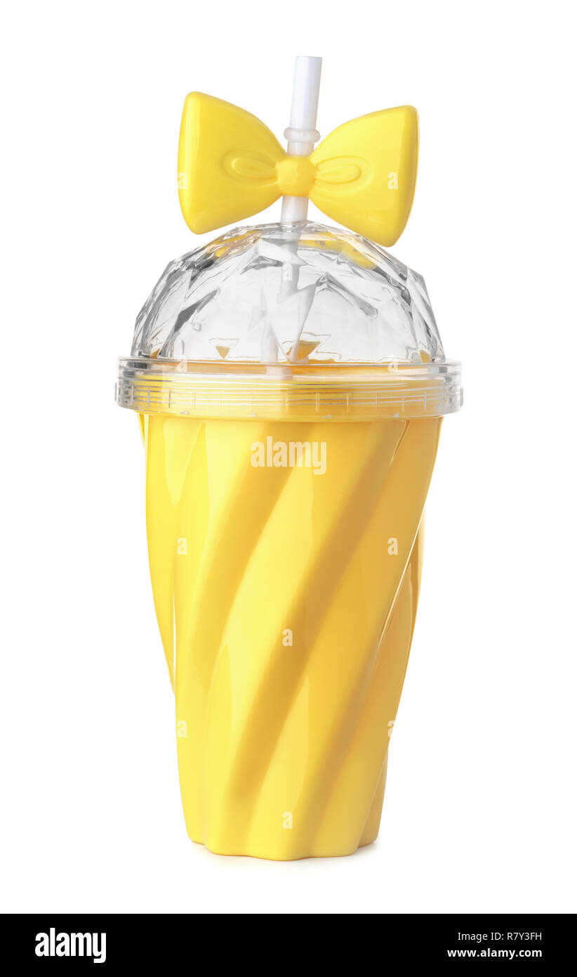 Yellow reusable plastic cup with  lid and straw isolated on white - Stock Image