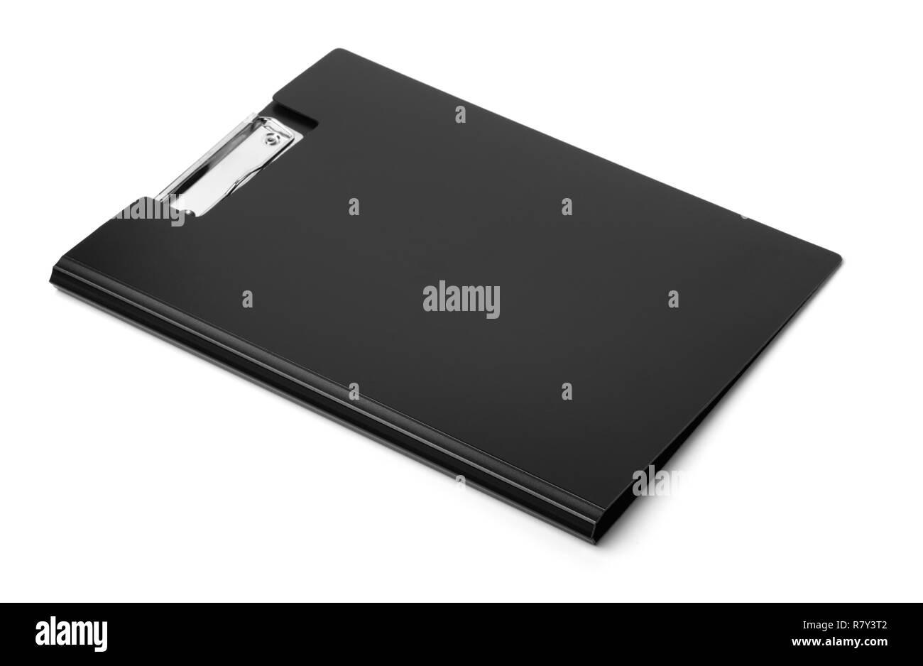 Black plastic folder clipboard isolated on white - Stock Image