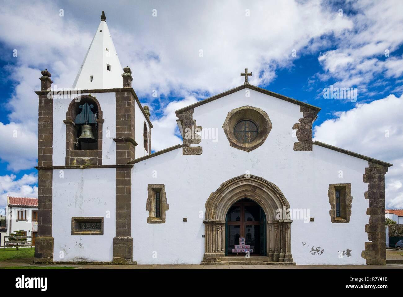 Portugal, Azores, Terceira Island, Sao Sebastiao, 15th century town church, exterior - Stock Image