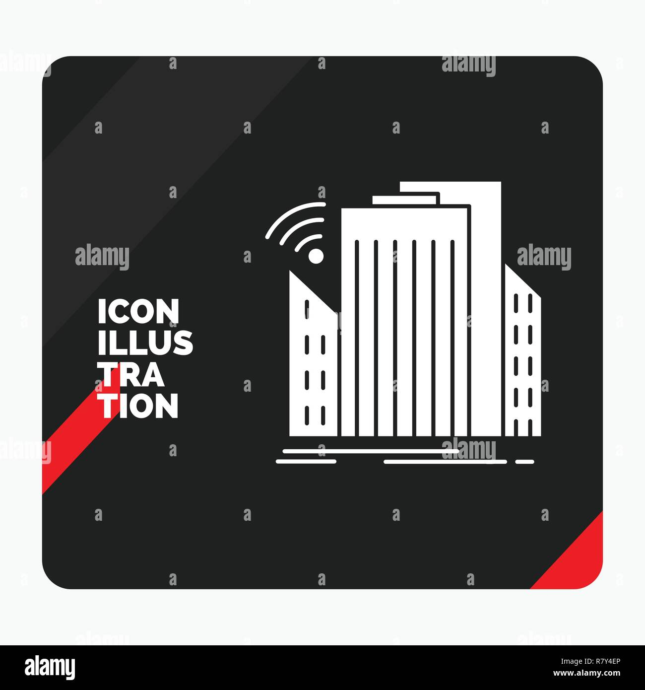 Red and Black Creative presentation Background for Buildings, city, sensor, smart, urban Glyph Icon - Stock Vector