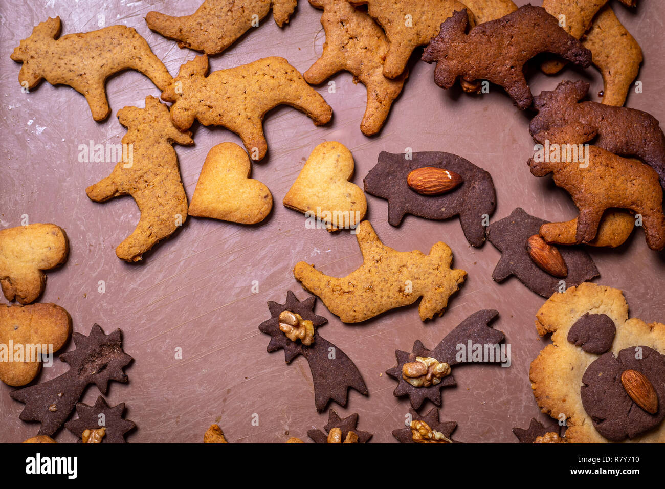Traditional Czech Christmas Gingerbread Cookies On The Tray With