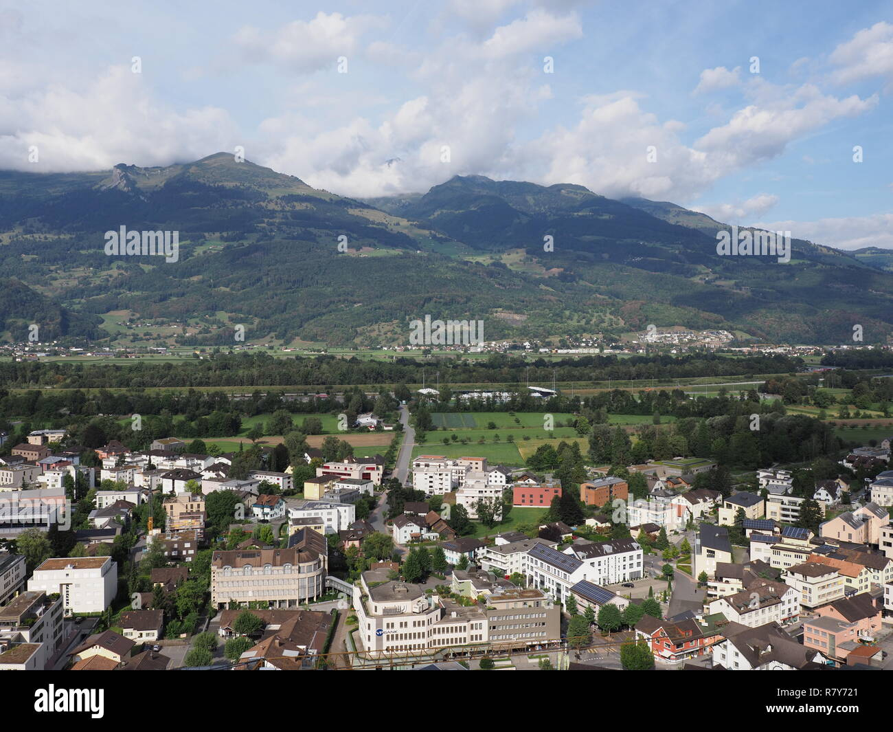 Amazing panorama of cityscape landscape of small european capital city of Vaduz in Liechtenstein - Stock Image