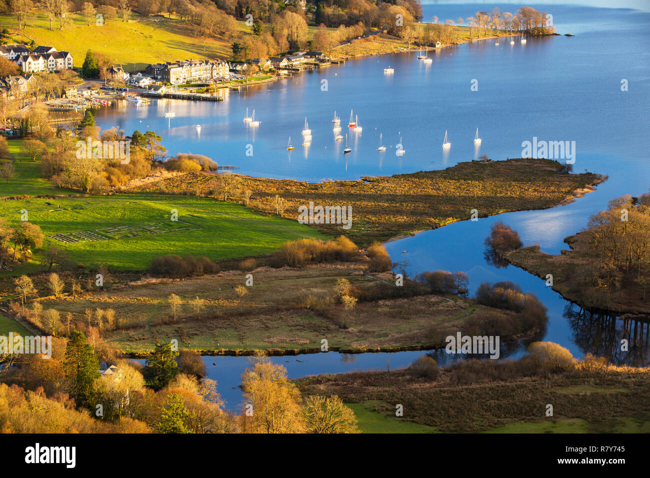 Looking down onto Galava Roman fort at the head of Lake Windermere from Todd Crag, Lake District, UK. - Stock Image