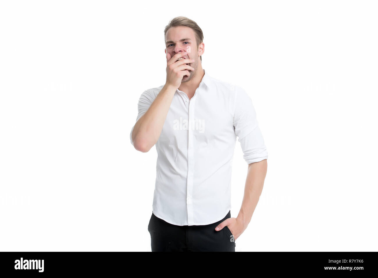 Man bored yawning white background. Fed up with this. Feel tired and sleepy. Sleepy guy in formal clothes. Bored worker yawning. Office worker cover mouth with palm while yawning. Why people yawn. - Stock Image