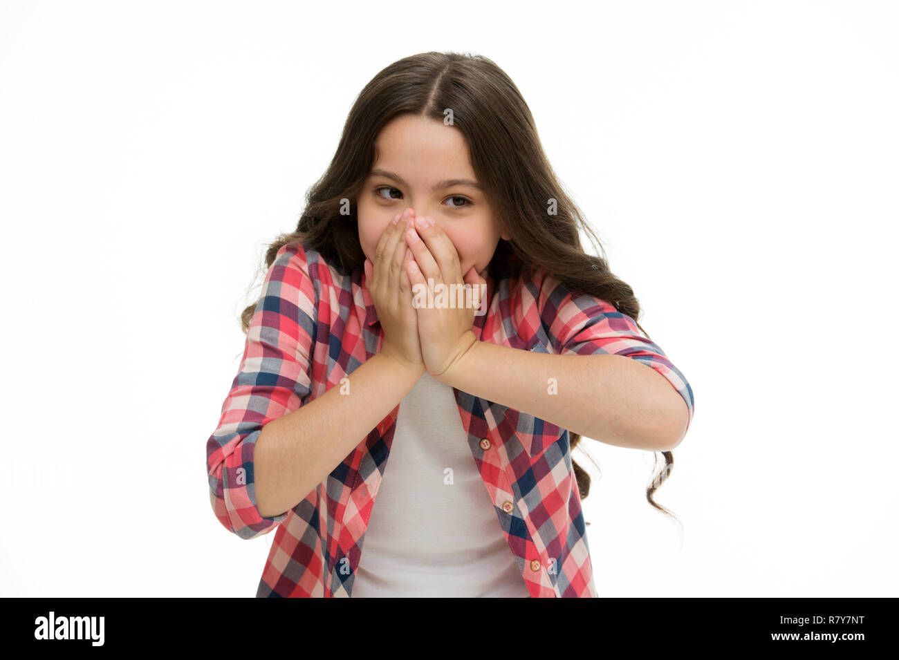Oh my God. Kid stunned overwhelmed emotion can not believe her eyes. Child surprised shocked face isolated white background. Kid girl long curly hair surprised stunned. Girl curly hairstyle wondering. - Stock Image