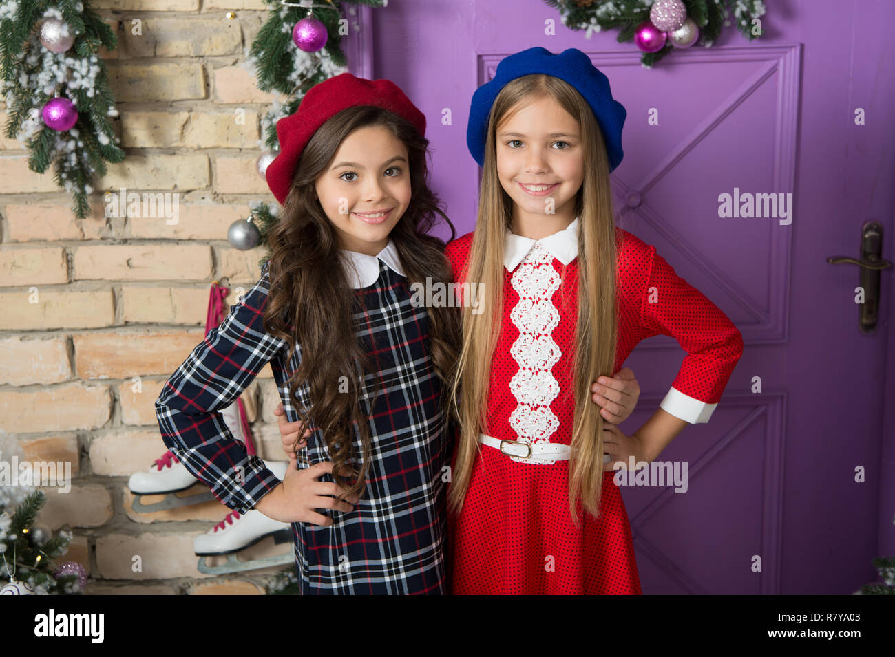 Dressing Like A French Girl Small Girls With Long Hair Style For New Year Party Small Children On New Year Eve Fashion Girls With Beauty Look Little Children In Stylish Berets French