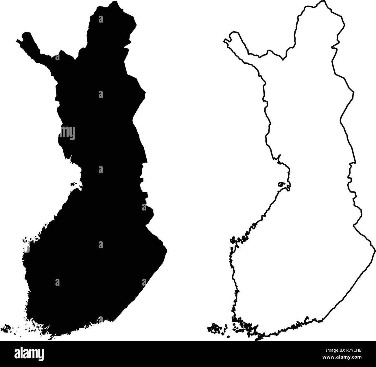 Simple (only sharp corners) map of Finland vector drawing ...