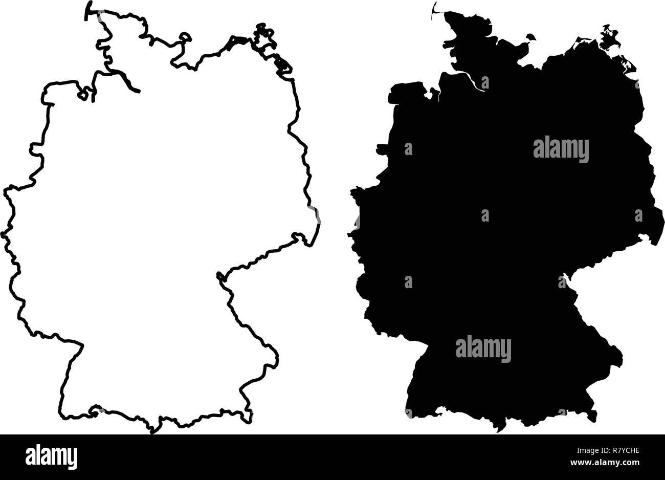 Simple Map Of Germany.Simple Only Sharp Corners Map Of Germany Vector Drawing Mercator