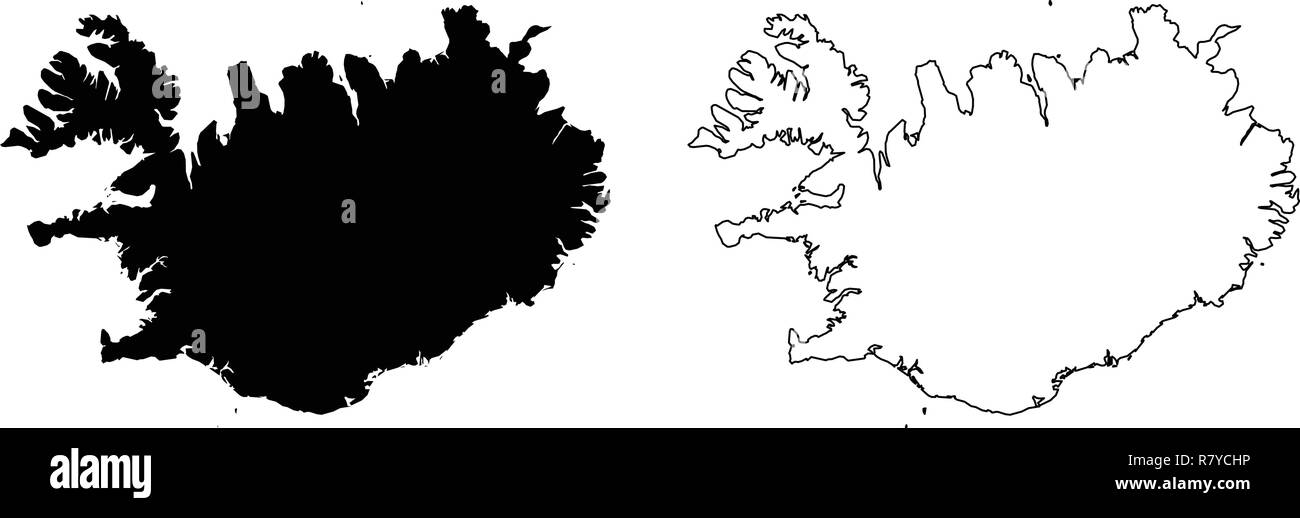 Simple (only sharp corners) map of Iceland vector drawing ...