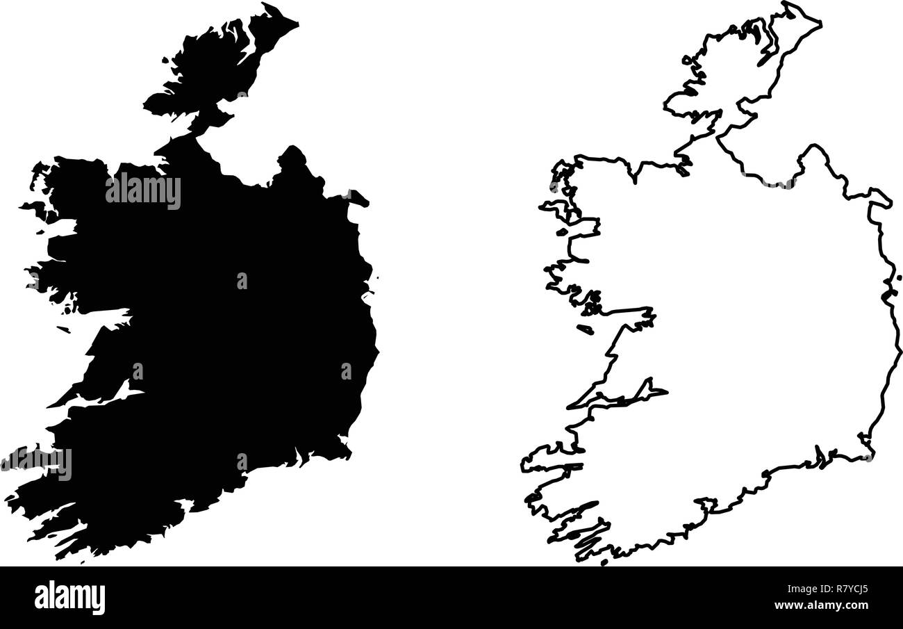 Simple Map Of Ireland.Simple Only Sharp Corners Map Republic Of Ireland Without