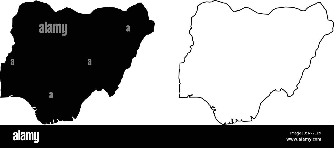 Simple (only sharp corners) map of Nigeria vector drawing. - Stock Vector