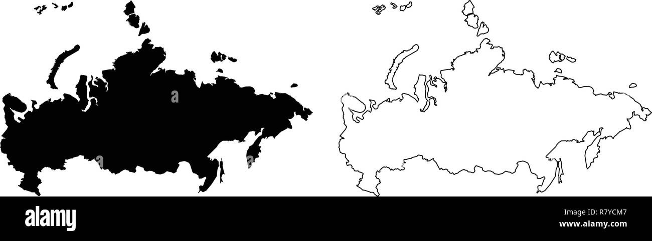 Simple (only sharp corners) map of Russia vector drawing. Filled and outlined version. - Stock Image