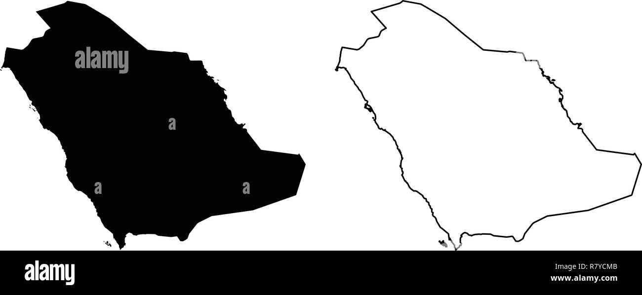 Simple (only sharp corners) map -  Kingdom of Saudi Arabia (KSA) vector drawing. Mercator projection. Filled and outline version. - Stock Image