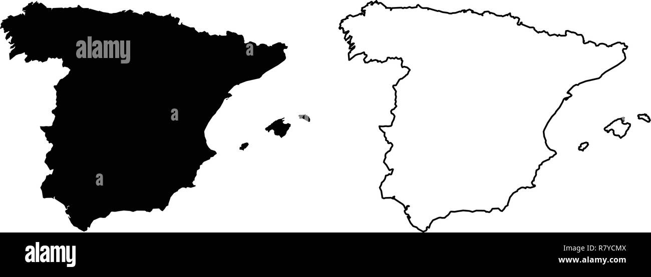 Map Of Spain Drawing.Simple Only Sharp Corners Map Of Spain Vector Drawing Mercator