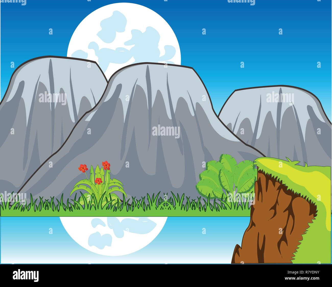 Beautiful year landscape with reflection of the moon on water - Stock Vector