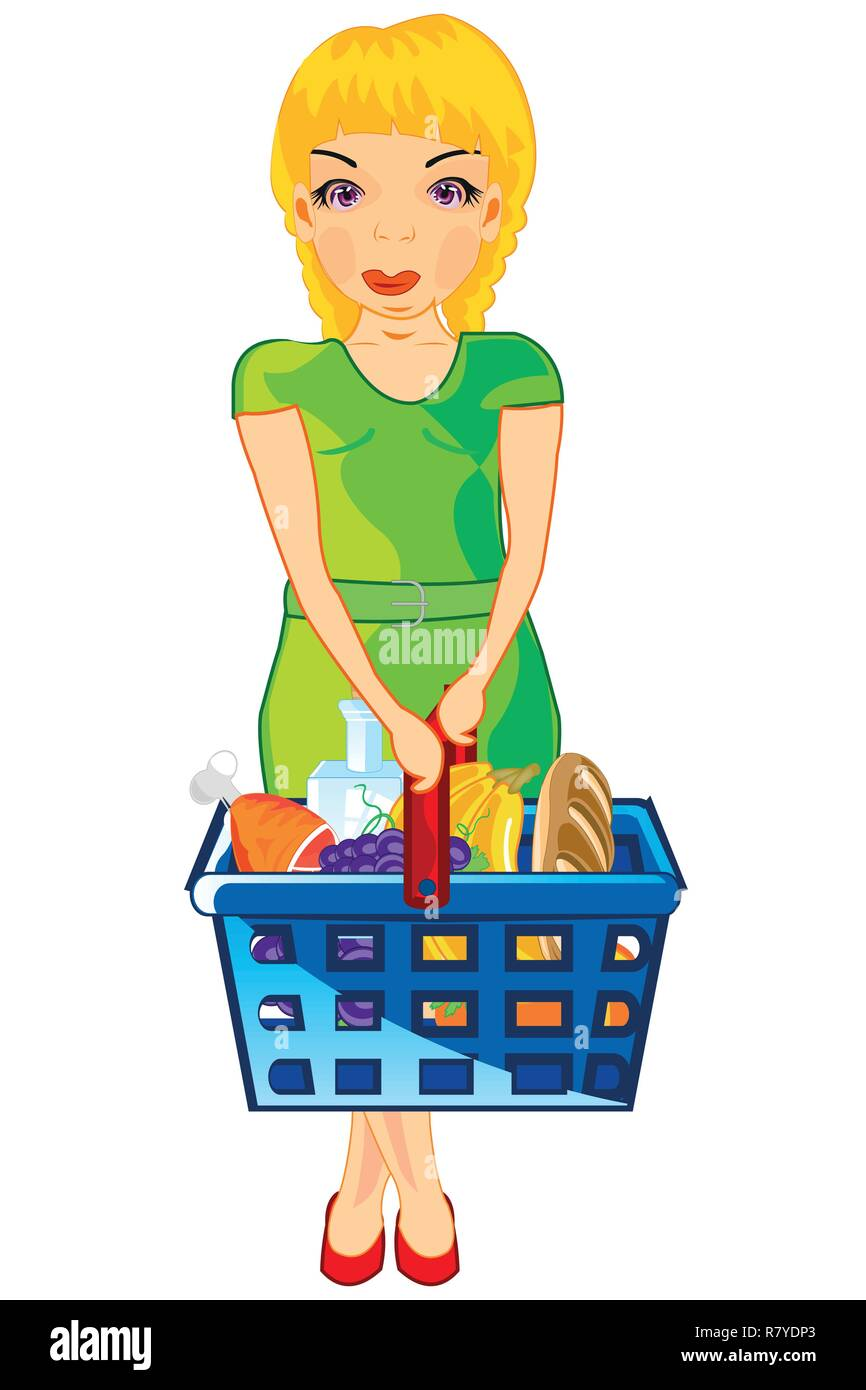 Making look younger girl with product in basket - Stock Vector