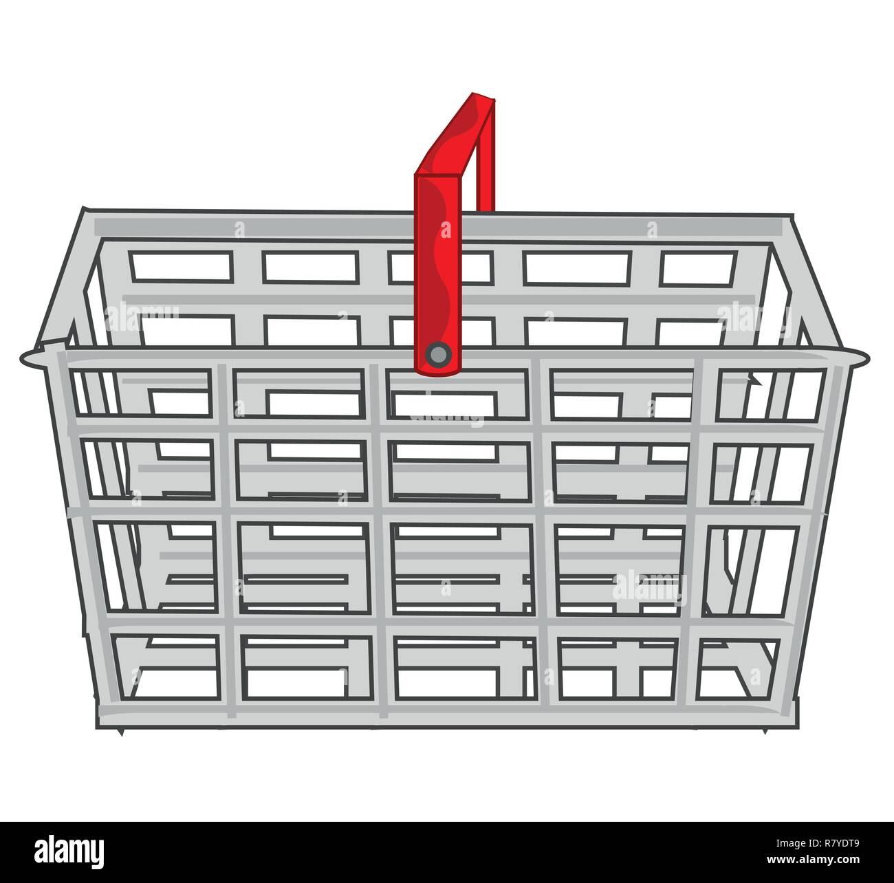 Empty metallic basket for goods in shop - Stock Vector