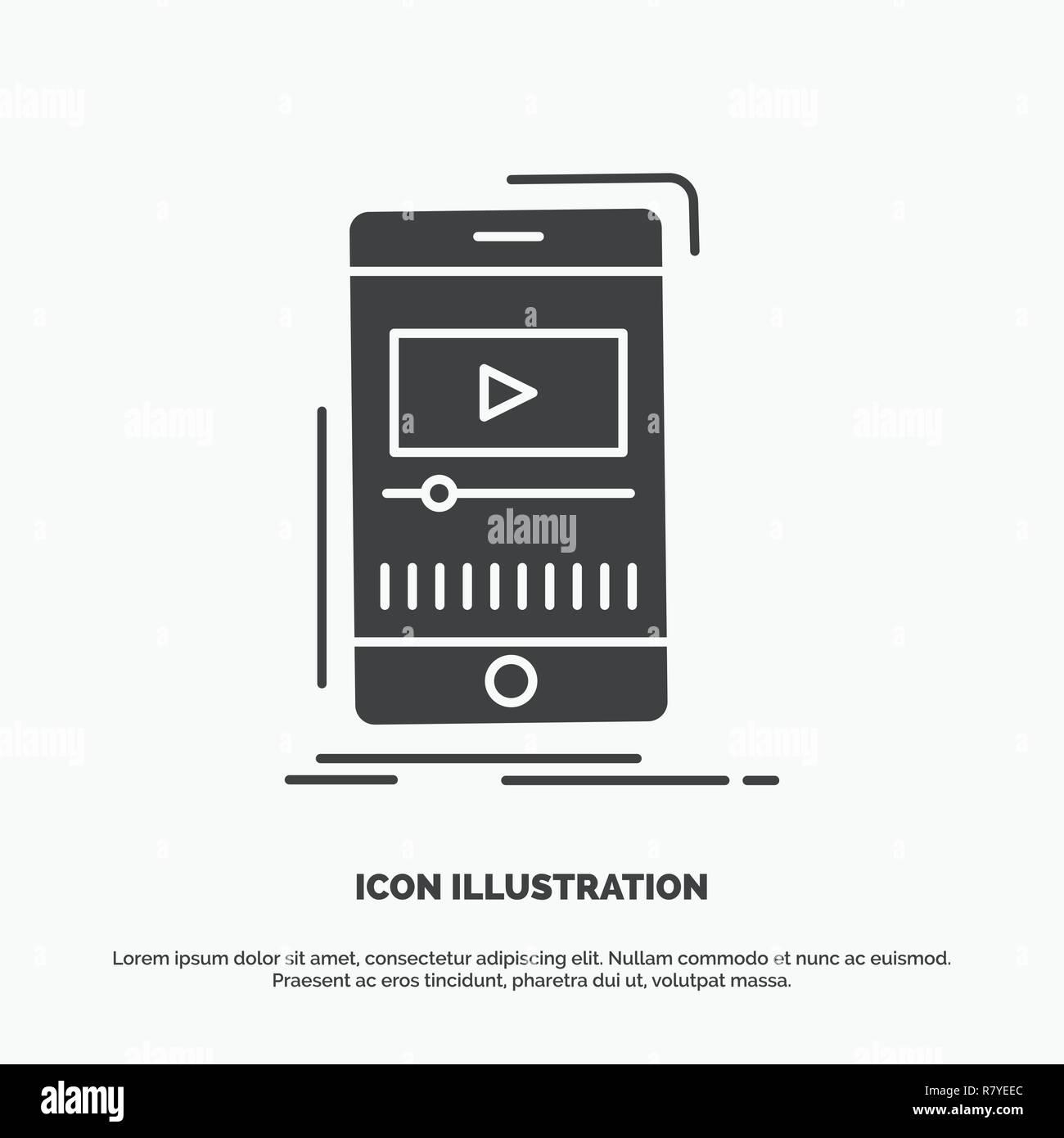media, music, player, video, mobile Icon  glyph vector gray