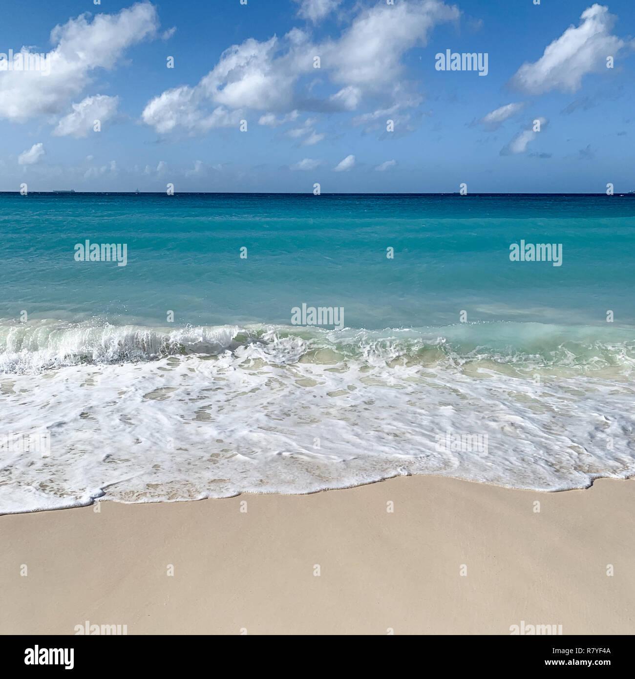 Aruba beach - tropical white sand beach with aquamarine water - Divi beach is a top Aruban vacation in the Caribbean - Dutch Island / Leeward Islands Stock Photo