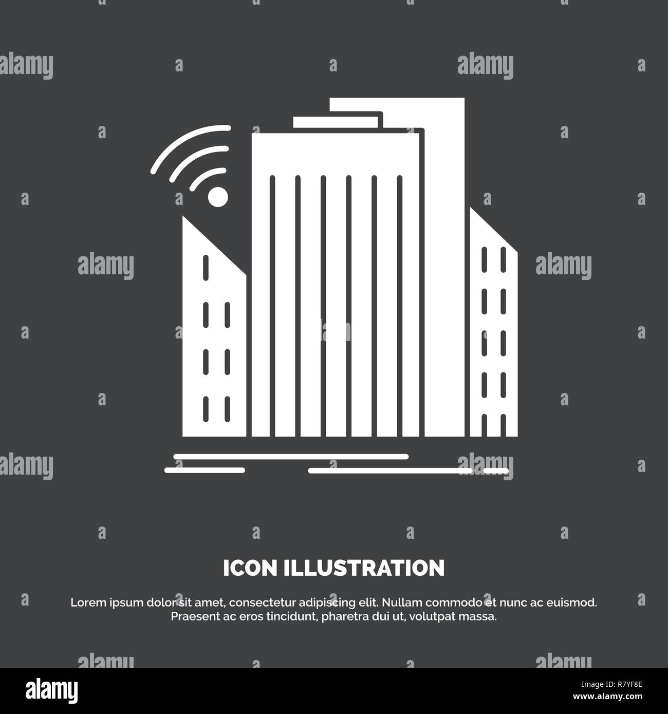 Buildings, city, sensor, smart, urban Icon. glyph vector symbol for UI and UX, website or mobile application - Stock Vector