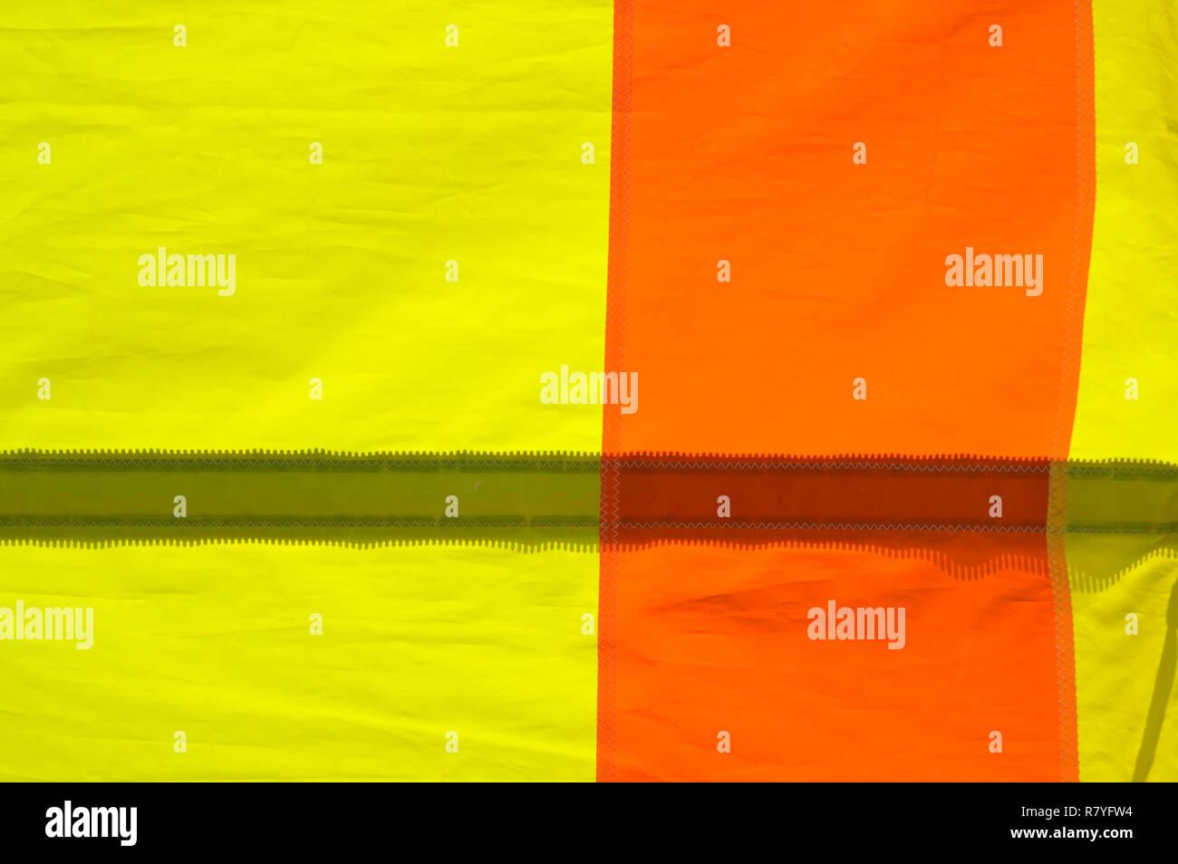 Yellow and Orange Nylon Sail Detail - Stock Image