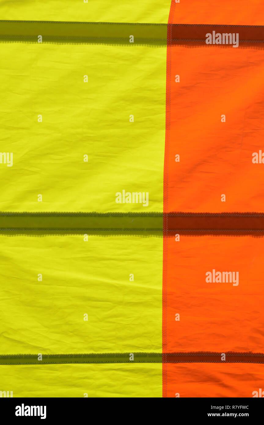 Orange and Yellow Nylon Sail Detail - Stock Image