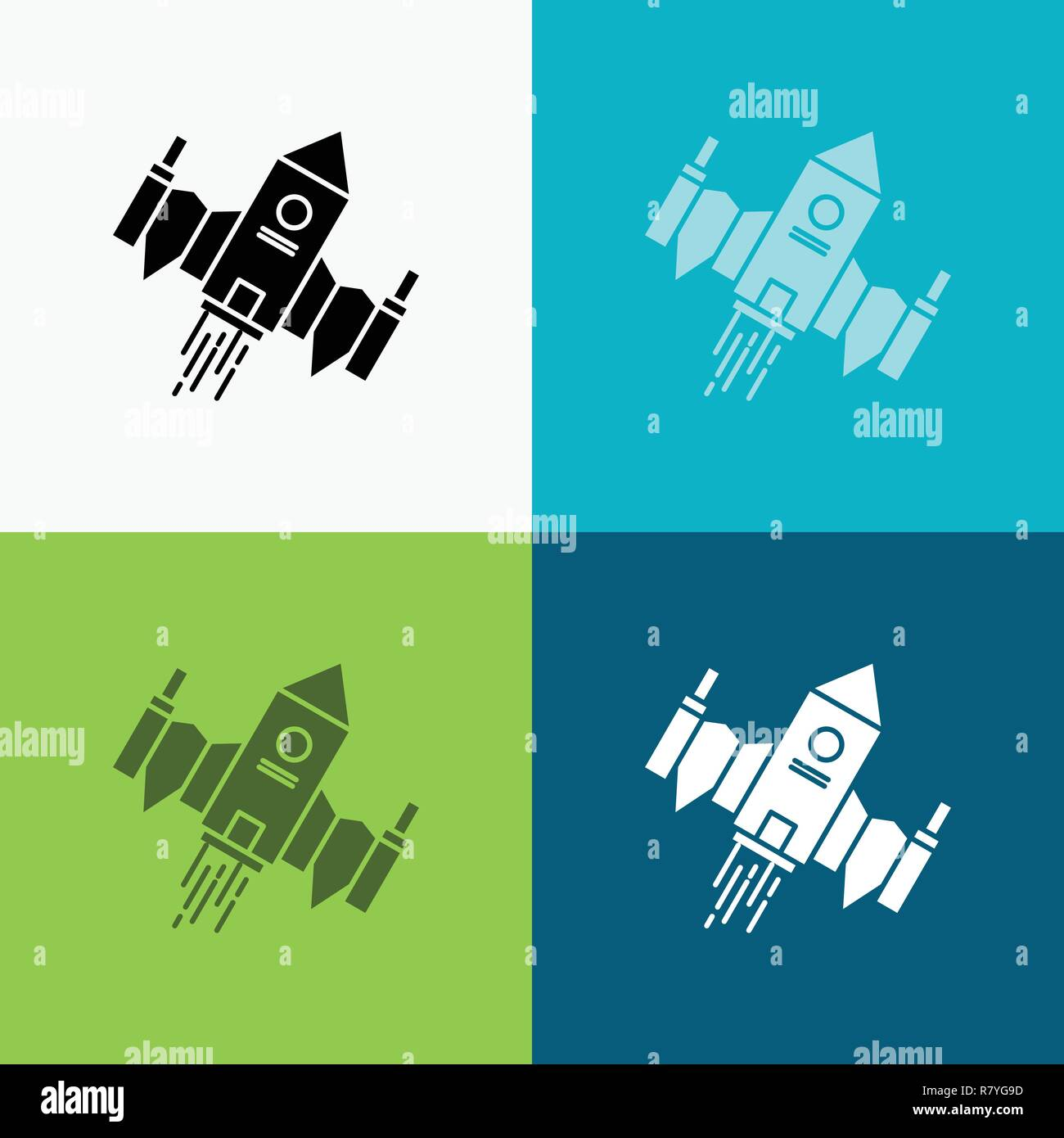 Spacecraft Spaceship Ship Space Alien Icon Over Various