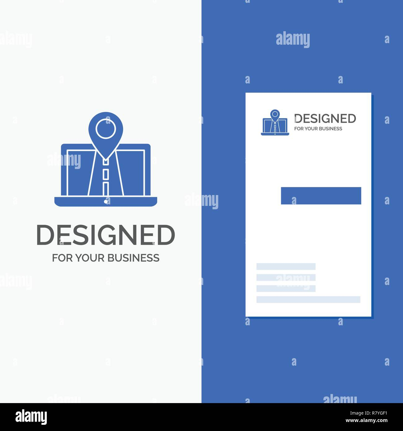 Business Logo for Navigation, Map, System, GPS, Route. Vertical Blue Business / Visiting Card template. - Stock Vector