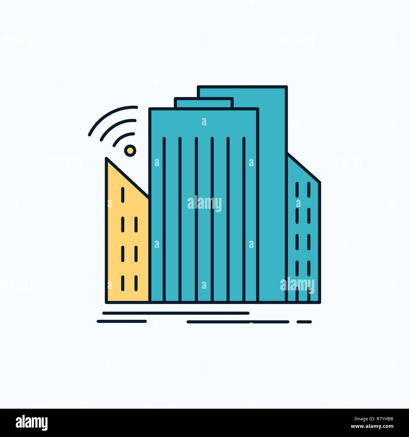 Buildings, city, sensor, smart, urban Flat Icon. green and Yellow sign and symbols for website and Mobile appliation. vector illustration - Stock Image