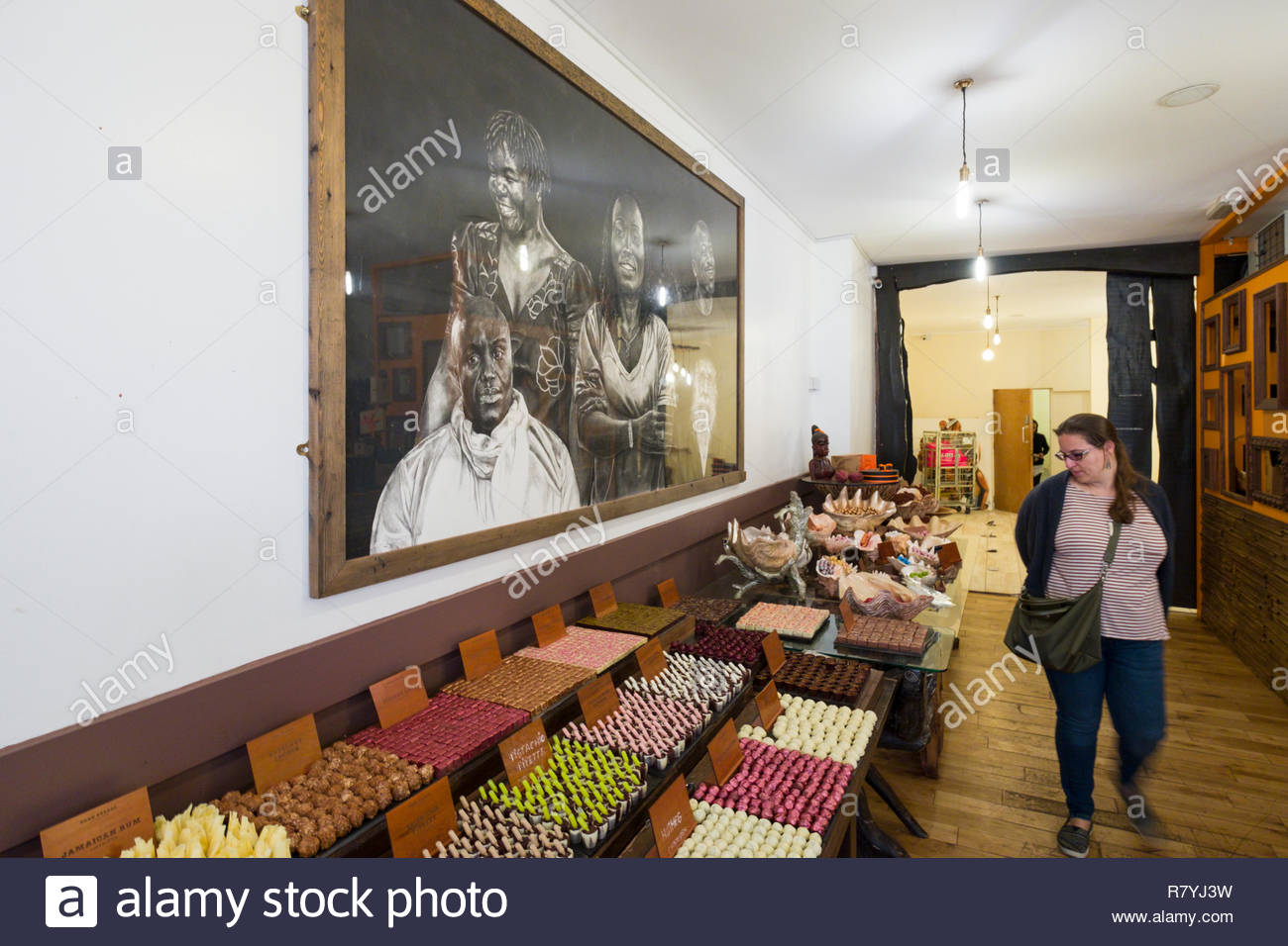 High quality chocolates on display inside Dark Sugars Cocoa House, Brick Lane, Tower Hamlets, London, England, United Kingdom - Stock Image