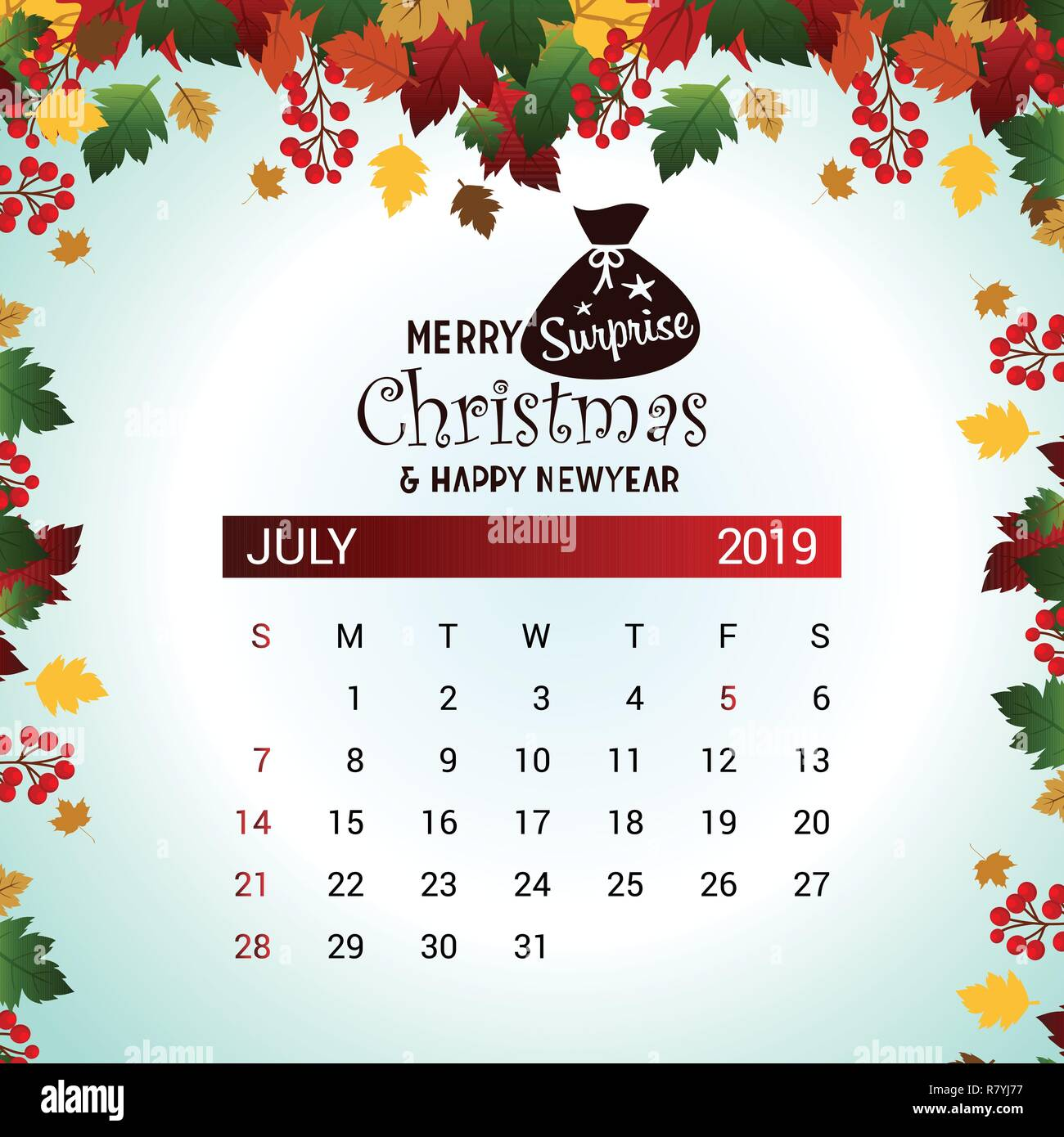 Christmas In July 2019 Images.2019 July Calendar Design Template Of Christmas Or New Year