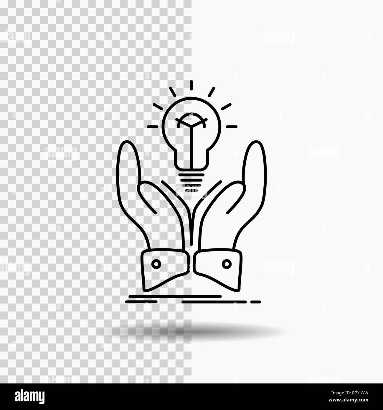idea, ideas, creative, share, hands Line Icon on Transparent