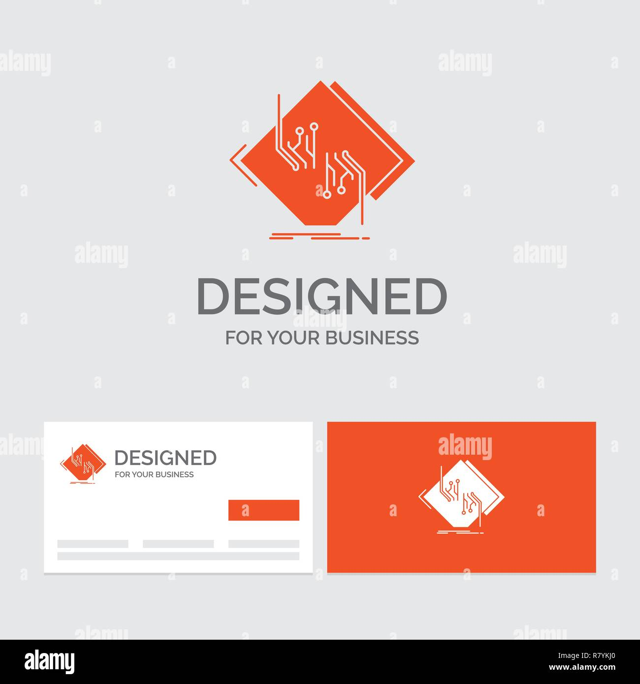 Business logo template for Board, chip, circuit, network, electronic. Orange Visiting Cards with Brand logo template. - Stock Image