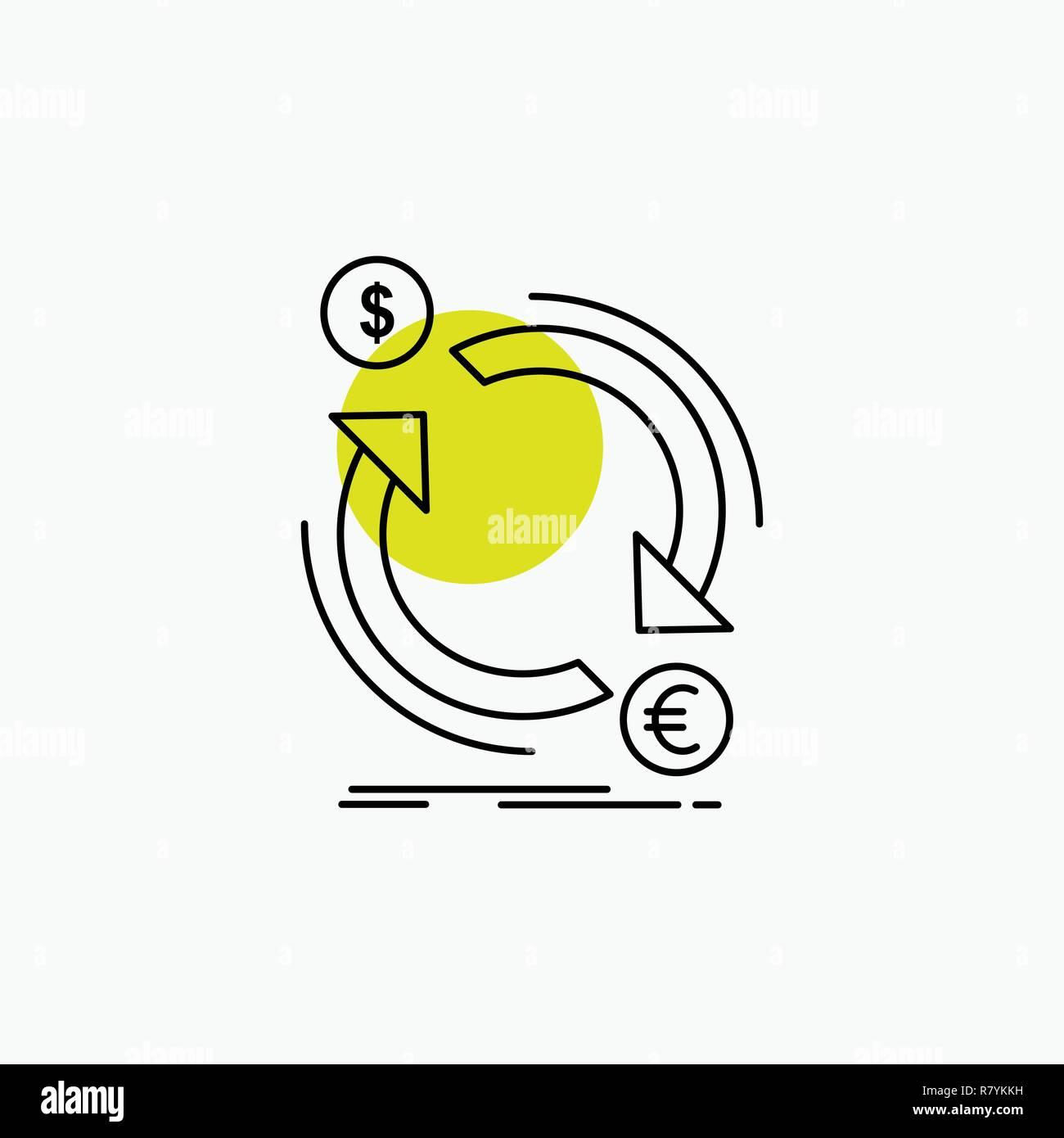 exchange, currency, finance, money, convert Line Icon Stock Vector
