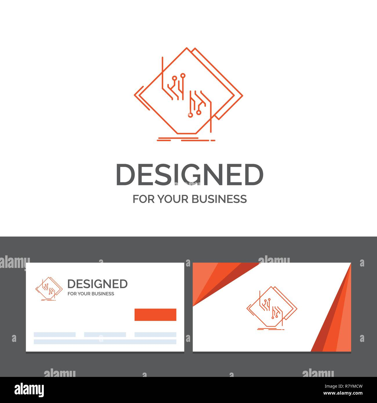 Business logo template for Board, chip, circuit, network, electronic. Orange Visiting Cards with Brand logo template - Stock Image
