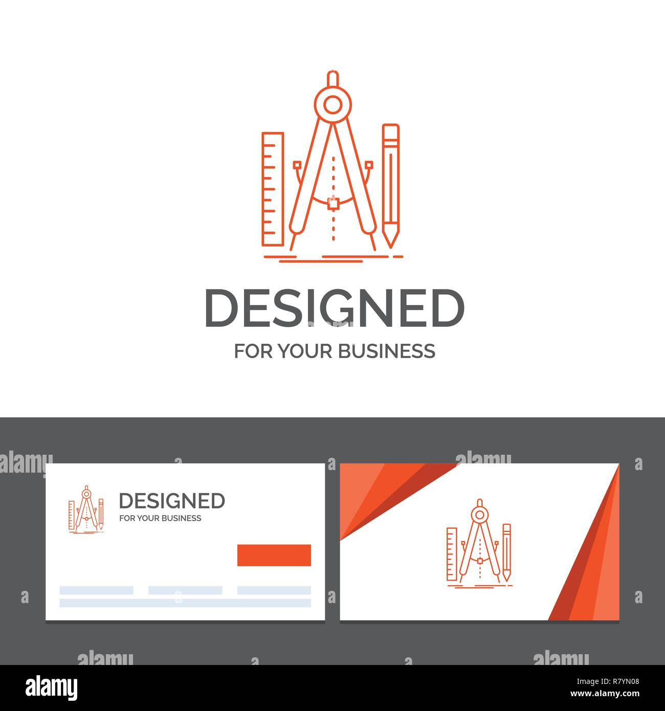 Business logo template for Build, design, geometry, math, tool. Orange Visiting Cards with Brand logo template - Stock Vector