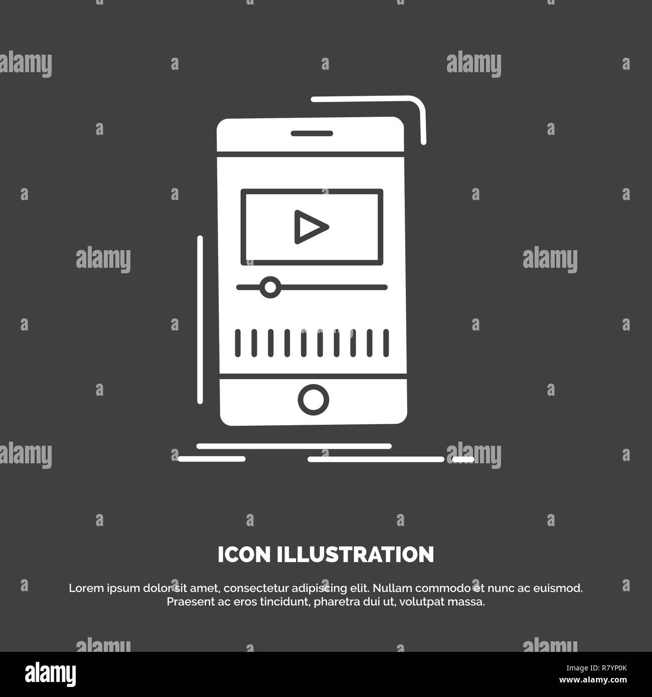 media, music, player, video, mobile Icon  glyph vector