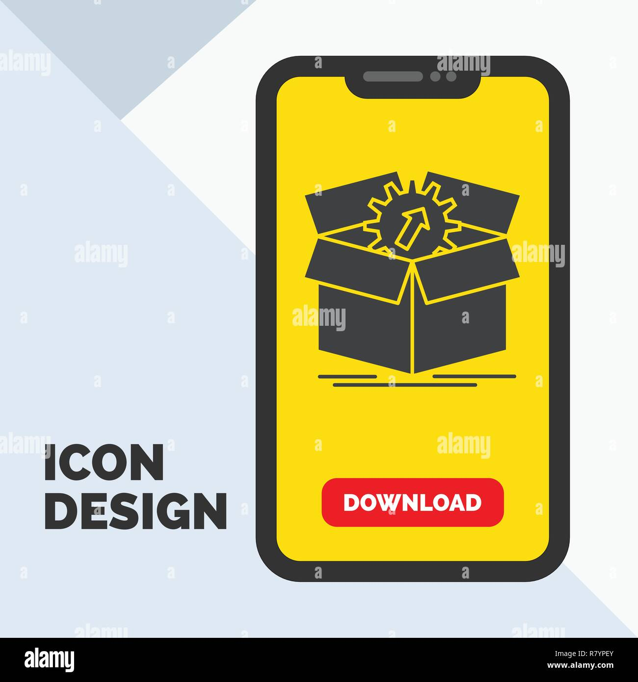 upload, performance, productivity, progress, work Glyph Icon in Mobile for Download Page. Yellow Background - Stock Vector