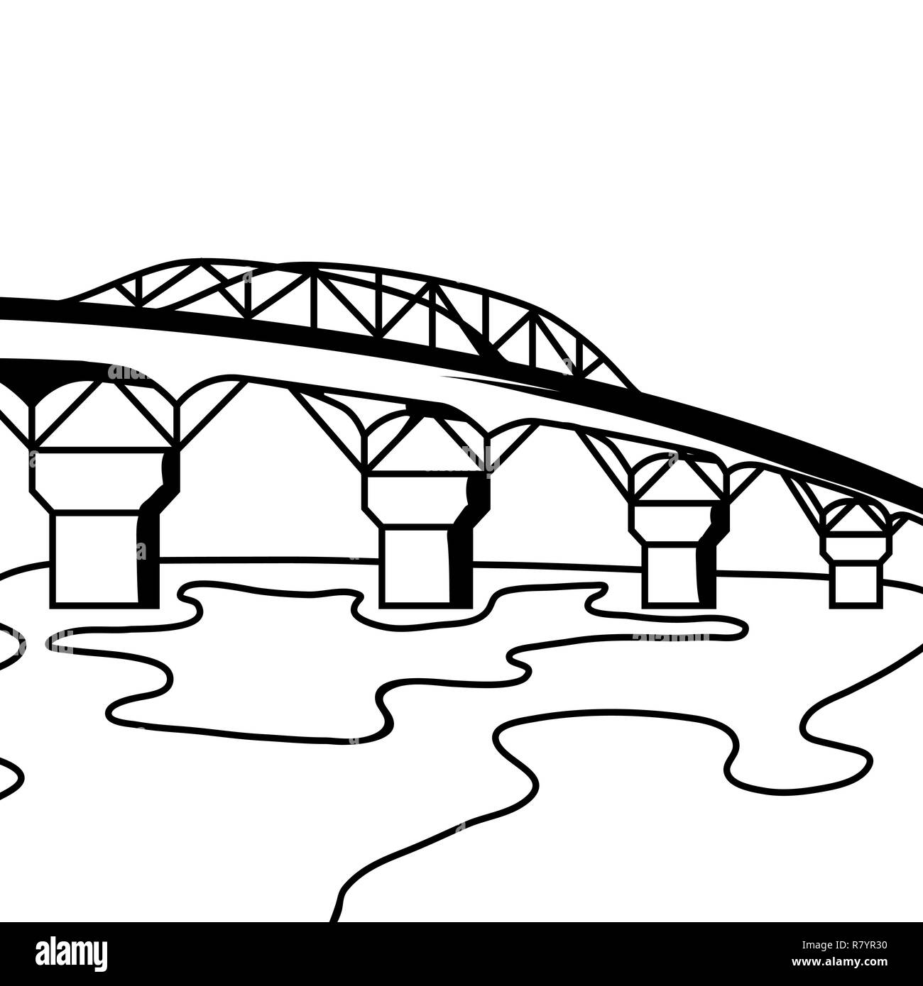 Black and white bridge. - Stock Vector