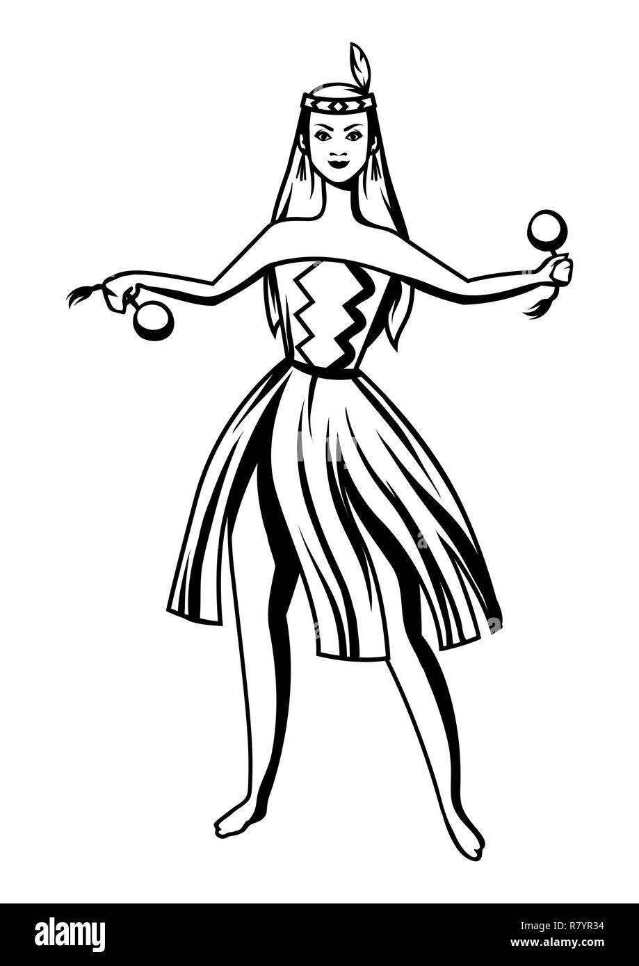 Black and white maori girl dancing. - Stock Vector