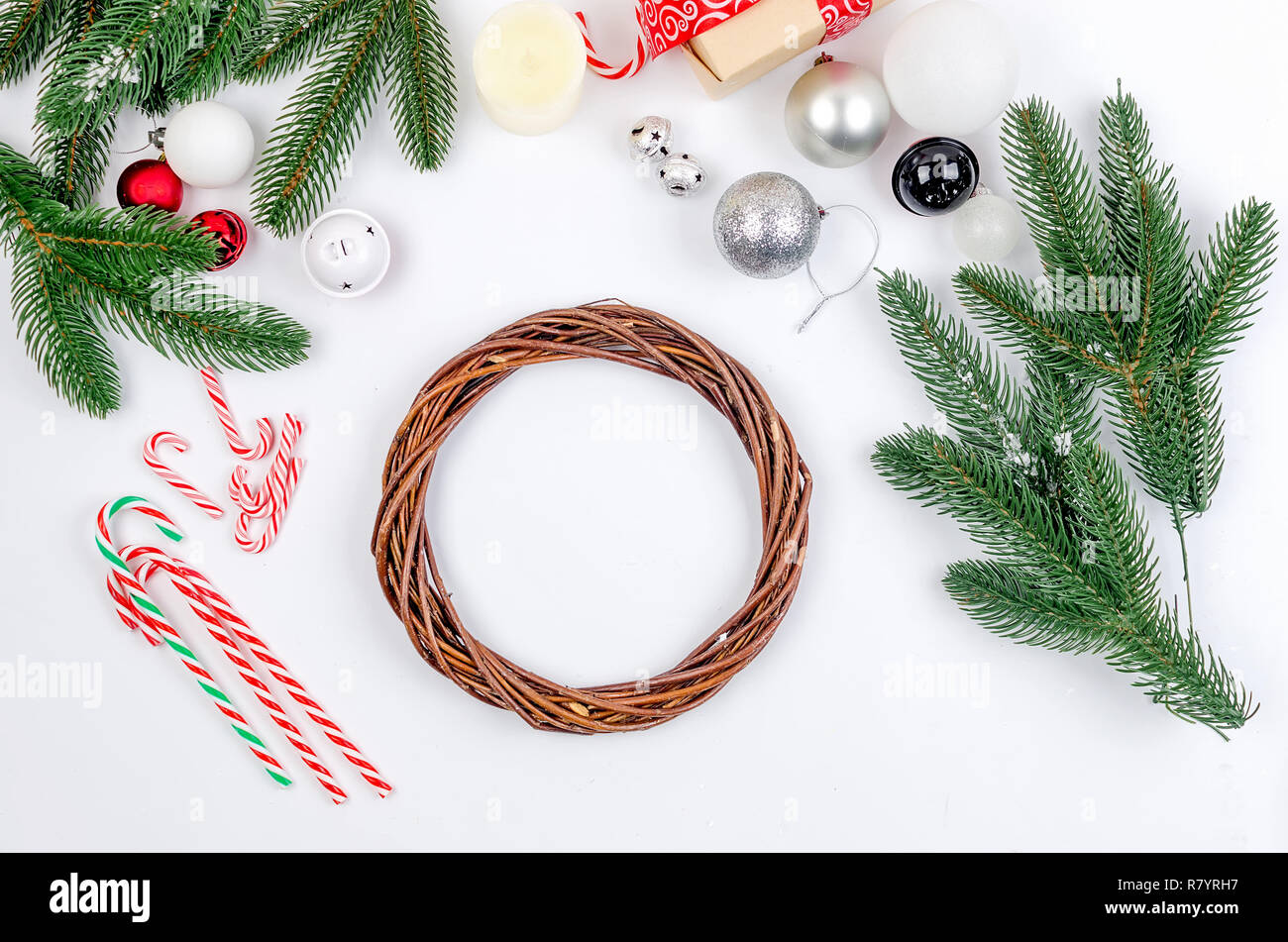 Making Craft Xmas Wreath Christmas Handmade Diy Background Fir Branches Cones Bells Balls Top View Of White Wooden Table Stock Photo Alamy