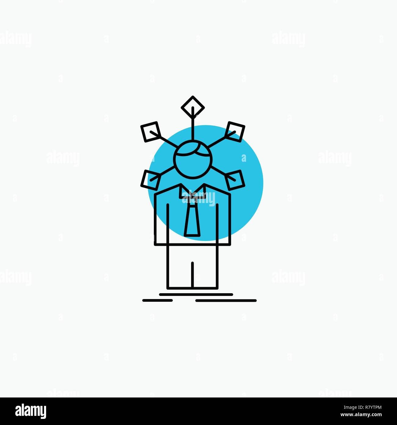 development, human, network, personality, self Line Icon - Stock Vector