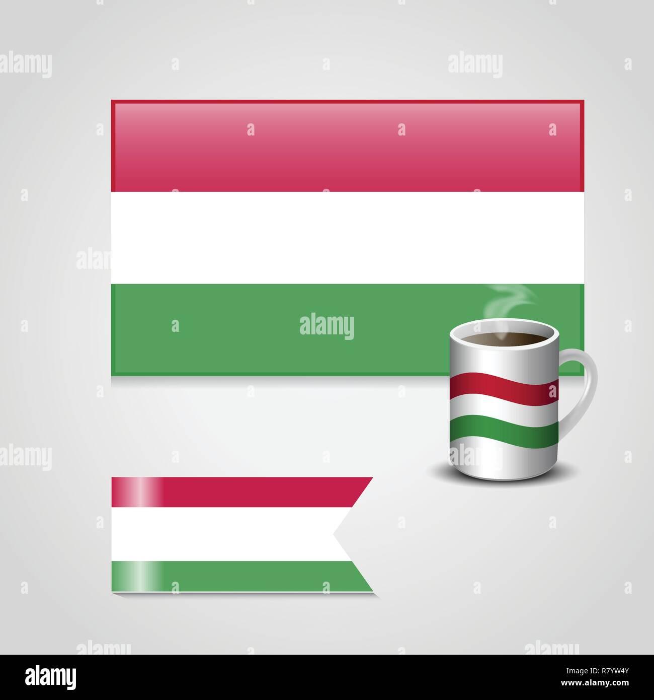 Hungary Flag printed on coffee cup and small flag - Stock Vector