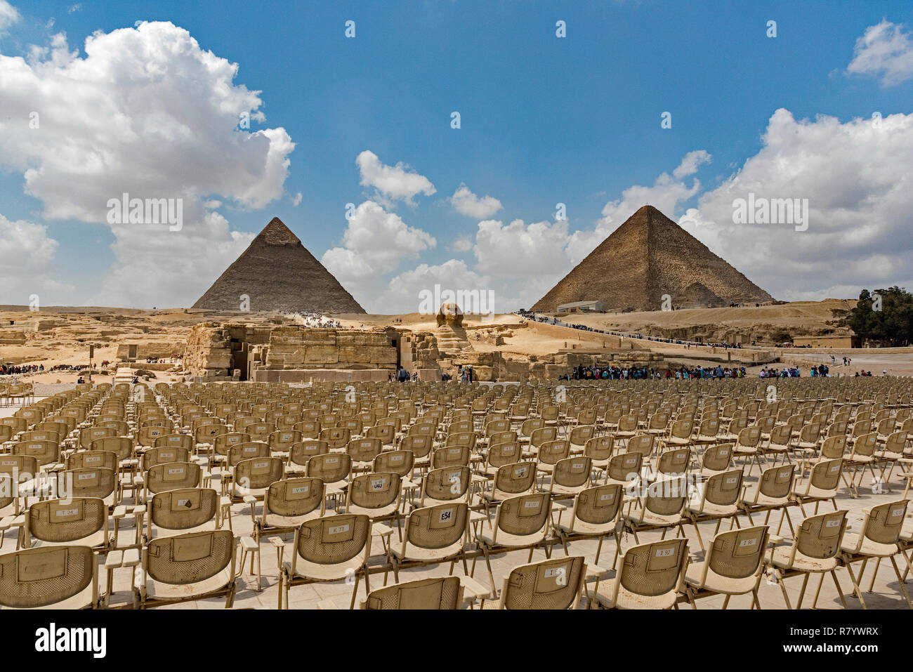 Pyramids view from open-air theatre in Giza Stock Photo