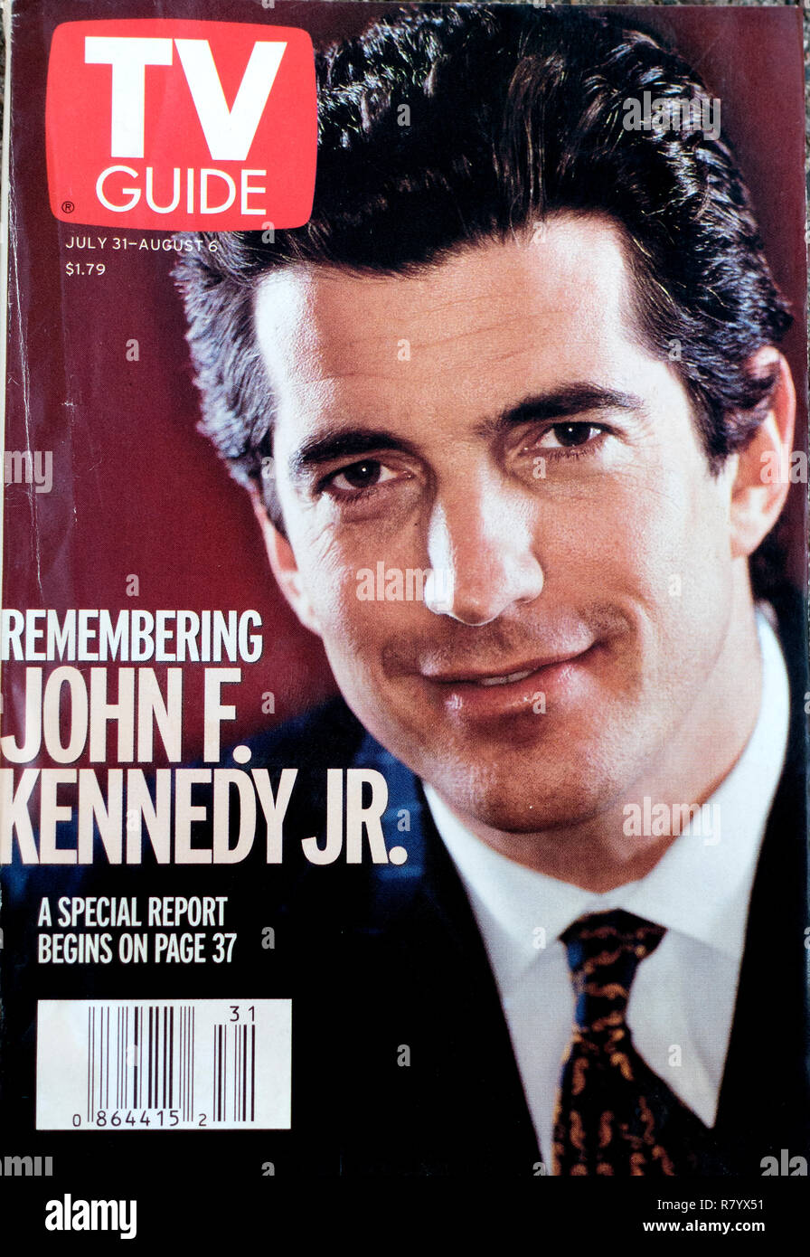TV Guide Magazine with cover photograph Remembering John F. Kennedy Jr. St Paul Minnesota MN USA - Stock Image