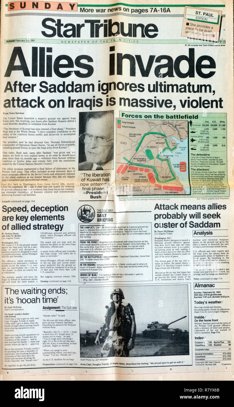 StarTribune front page headline on 2/24/91, allies invade, attack on Iraqis is massive and violent St Paul Minnesota MN USA - Stock Image